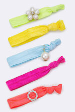 Green, Yellow, Blue, Pink and Coral Crystal and Pearl Hair Ties 5 Pieces