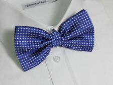 Mens Tuxedo QUALITY Bow Tie Formal Wedding ~ Blue and white small polka dots