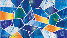 Stained glass style Blue Mosaic film decoration frosted effect