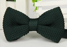 ZZBW005 Dark Green Men's Double Layer Bowtie Knit Knitted Pre Tied Bow Tie Woven