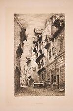 eau-forte de Charles Maldant, une rue à Chalon sur Saone, gravure 1906 -
