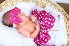 Newborn Baby Dark Hot Pink Polka White Dot Pettiskirt Dance Tutu Dress 3-12Month
