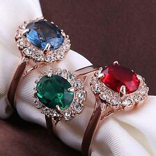 Top Quality Women Austrian Crystal Rose Gold Plated Finger Ring Emerald