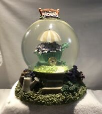 Vintage GLITTER SNOW GLOBE FLOWERS  MUSICAL Music BoX