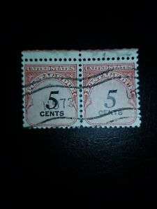 1959 5c Postage Due Block of 2 Sc# J93 US Stamps Used Great Find  - # 1412