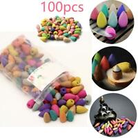 100pcs Bullet Backflow Incense Hollow Cone Mixed Flavor Smoke Tower Cones