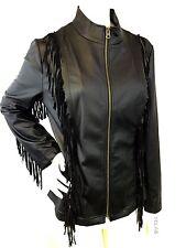 NWT MILA & MILAN Black Fringed Detail Faux Leather Zip Front Jacket Size Medium