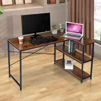 Home Office L-Shaped Computer Desk Gaming Table Workstation with 2 Tier