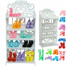 10Pairs Barbie Doll Shoes Rack/Random Shoes House Furniture Accessories Kid Toy