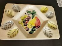 Vintage Deviled Egg Plate Made In Italy Hand Painted Tray mint