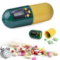 Digital Pill Box Timer Alarm Clock Reminder Medicine Storage Container Holder