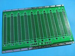 10 slot Backplane Eurocard edge card bus PCB 96pin 3U 48HP DIN41612 FR4 GREEN