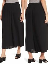 Eileen Fisher Black Wide Ankle Pants Knife Pleated Recycled Polyester S NWT $268