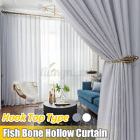 Nordic Fish Bone Hollow Pattern Tulle Sheer Curtain Balcony Living Room Home