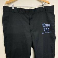 "Dickies Cotton Work Combat Trousers Pants Slacks Black ""Thug Life"" W42 X L32"