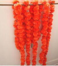 Artificial Marigold Flower Garlands Bright Orange Diwali Decor Indian Wedding