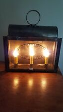 Primitive Tin Triple Light Electric Lantern **Williamsburg Colonial Style