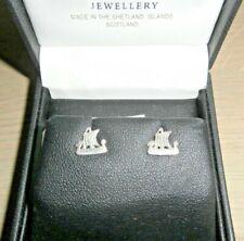 Shetland Island Scotland ~ Silver 925 ~Viking Longships Stud Earrings~Boxed ~