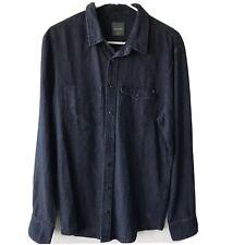 Gsus Sindustries Mens Medium M Blue Denim Shirt  Long Sleeve Button Down