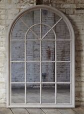 Large Arched Grey Window Shape Arch Mirror Gothic 130cm Indoor Wall Mountable