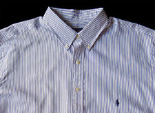 Men's RALPH LAUREN Marine Blue White Stripe Striped Shirt 3XLT 3XT TALL NWT NEW