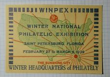 Winpex St Petersburgs Fl 1939 Sunshine City Philatelic Souvenir Ad Label