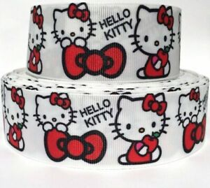 """GROSGRAIN RIBBON 5/8"""", 7/8"""", 1.5"""", 3"""" HELLO KITTY Red Bows Printed COMBINE SHIP"""