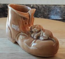 Vintage Hornsea Pottery Tan glazed Laced Boot with moulded Puppy circa 1951