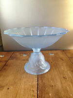 ART DECO WALTHER & SOHNE MERMAID & SHELL NYMPHEN FROSTED GLASS FRUIT BOWL STAND
