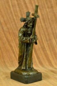 Signed Original Milo Jesus Christ Forced To Carry Cross Bronze Statue Figurine