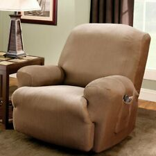 Stretch Stripe One Piece Recliner Slipcover brown