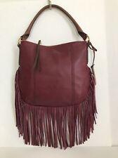 NWT Fossil Molly Fringe Hobo Crossbody Leather handbag Wine