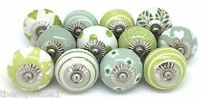 12 These Please Ceramic Knobs SLIGHT SECONDS Cupboard Vintage Look Green JL2-12