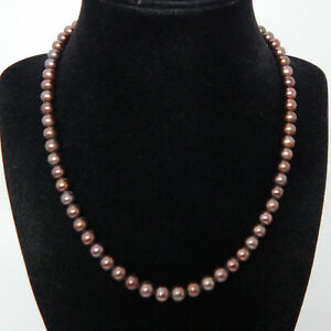 """BLACK COPPER HUE CULTURED STRAND OF PEARLS STERLING SILVER CLASP 19"""" NECKLACE"""