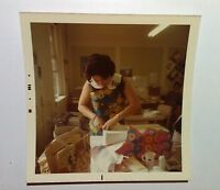 Vintage 70s Photo Cute Asian Unwrapping Gifts At Retro Office Birthday Party