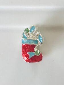 Christmas STOCKING European Enamel Bead Large Charm Silver Bracelet FESTIVE