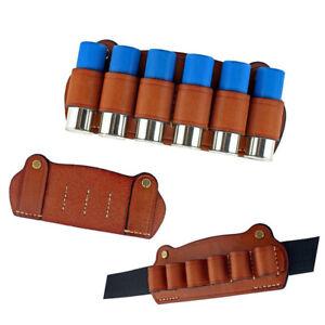 Leather 6 Cartridge 12G Shotgun Shell Holder Tactical Belt Use Waist Bore Pouch