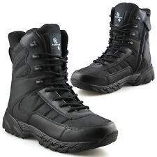 Mens New Leather Military Army Combat Walking Work Zip Up Ankle Boots Shoes Size