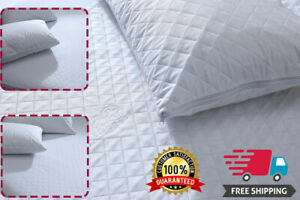 ZIPPED Quilted Pillow Protectors Luxury 4 Pack Poly Cotton Soft Pair Pillows