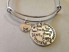 Be Happy Brave Strong Bracelet Charm Bangle SILVER Inspiration Message Positive