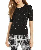 Maison Jules Womens Black Embroidered Polka Dot Jewel Neck Sweater Size L