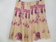 New Ann Taylor Skirt Pink Peach 100% Silk Floral Print Pointelle Trim A-line NWT