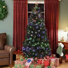 pre lit fiber optic 7 artificial christmas tree led multicolor lights and stand - Artificial Christmas Trees Sale