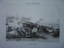 Gravure du passage du Rhin en barques