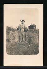 1910s Real Photo Postcard Young Farm Girl with Basset Hounds on Bale of Hay
