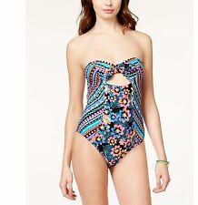 NWT Bikini Nation Size XS Bandeau Cut Out 1 PC Swimsuit Multi Floral Geometric