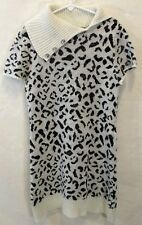 Faded Glory Knitted Gray Sparkle Leopard Print Sweater Dress Lg(10-12) w/Cowl