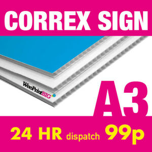 A3 Correx Sign Board Custom Advertising Weatherproof 24hr Dispatch FREE Delivery