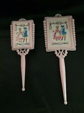 VINTAGE CHILD'S PLASTIC PINK VANITY MIRROR BRUSH SET WITH COLONIAL COUPLE PIC