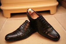 Raro Gucci para hombres hecho en Italia Negro Zapatos De Piel De Cocodrilo/Caimán Size UK 7.5